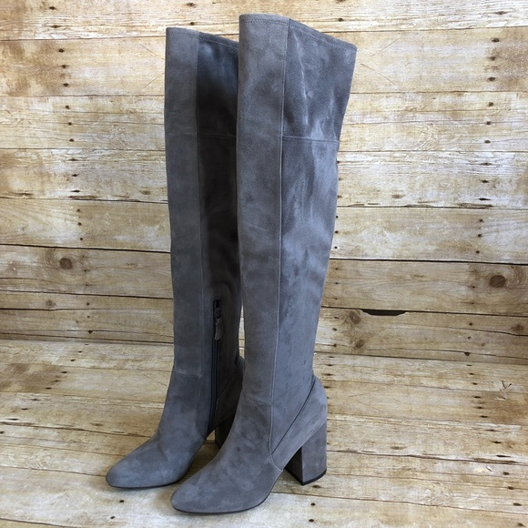 03bb9719727 Cole Haan Gray Suede Darla Over the Knee Boots